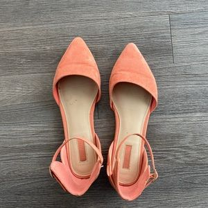 Salmon Pink Pointed Toe Flats